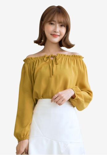 Tokichoi yellow Ribboned Off Shoulder Blouse 137FEAA881C586GS_1