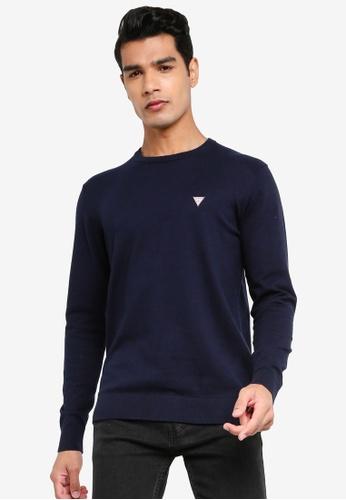 GUESS blue Jarrett Long Sleeve Crew Sweater 06C81AABB6C556GS_1