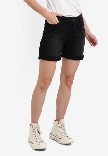 ESPRIT black Embellished Denim Shorts ES374AA0SPHPMY_1