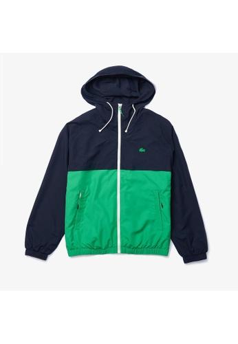 LACOSTE green Men's Hooded Bicolour Water-Resistant Zip Windbreaker 18A9DAAD6FAF4FGS_1