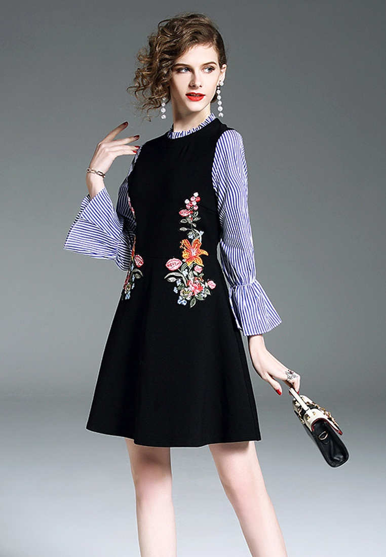Sleeve 2018 Black Black One CA043039 Piece Embroidery New Flare Dress Sunnydaysweety FUSxZqpU