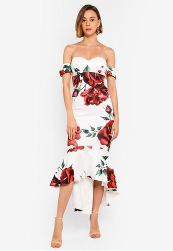 b3fc6c6724d5 Buy Goddiva Rose Print Fishtail Midi Dress Online | ZALORA Malaysia