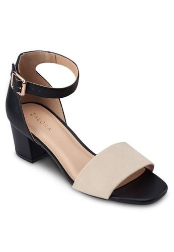 撞色寬帶繞踝粗跟涼鞋, 女zalora 心得鞋, 中跟