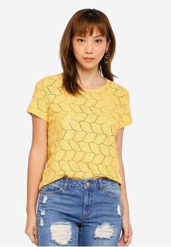 JACQUELINE DE YONG yellow Tag Short Sleeve Lace Top EAAB8AA1B4B384GS_1