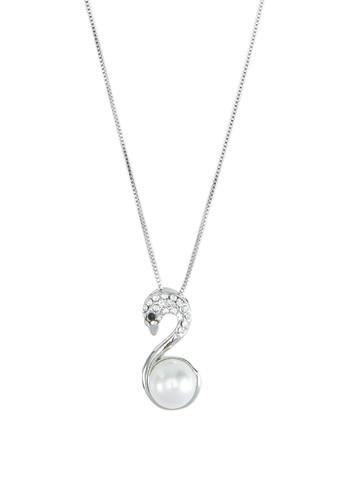 閃鑽珍珠天鵝吊飾項鍊,esprit 台中 飾品配件, 項鍊
