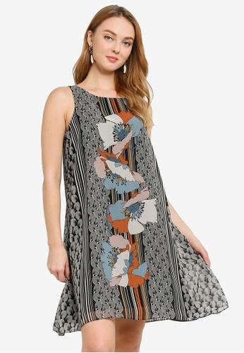 Max Studio black and multi Woven Sleeveless Trapeze Dress 2B938AAB243D2FGS_1