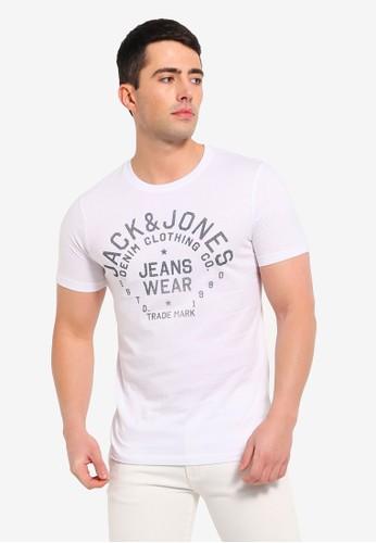 Jack & Jones white Jeans Printed Slim Fit Tee C319DAAF7D23CFGS_1
