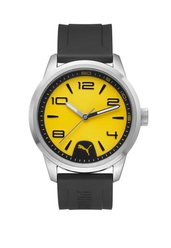 Puma yellow and silver Puma Rush Silver/Yellow Rubber Strap Watch PU440AC86CVPSG_1