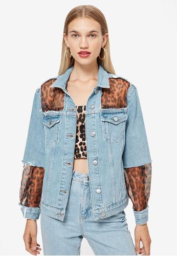 TOPSHOP 藍色 Leopard Print Organza Denim Jacket 954E8AAF8D448BGS_1