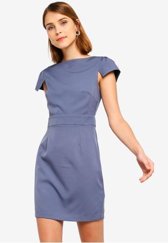 ZALORA 灰色 Half Cap Sleeves Sheath Dress 481D6AAE88D9DAGS_1