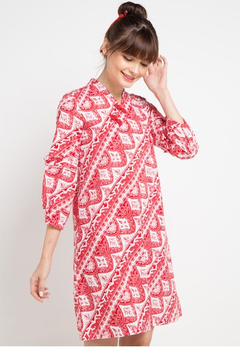 Bateeq red and multi Long Sleeve Cotton Print Dress 66AC9AAC90FA5EGS_1