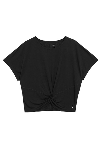 MARKS & SPENCER black M&S Cropped Twist Front Short Sleeve Top 2F079AA801C19AGS_1