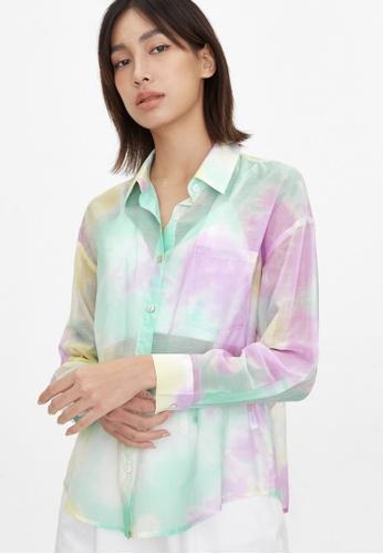 Pomelo yellow Sheer Front Pocket Tie Dye Shirt - Yellow D7EC1AA49F668AGS_1