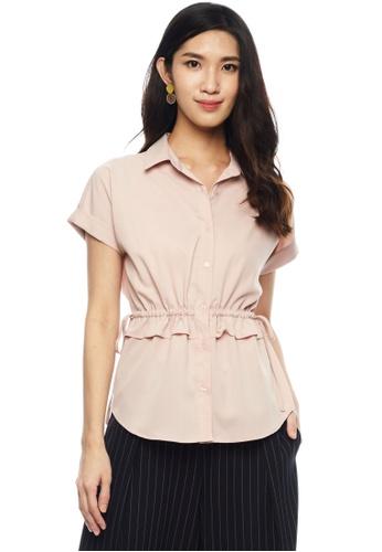 Nichii pink Cinched Waist Buttoned Blouse D6240AA05CD642GS_1