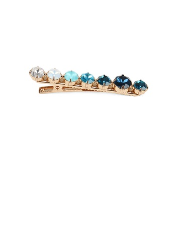 Glamorousky blue and gold Simple Fashion Plated Gold Blue Cubic Zirconia Geometric Round Hair Clip 5E6A7AC6DDA459GS_1