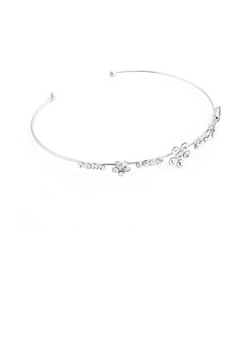 Glamorousky silver Elegant Flower Bangle with Silver Austrian Element Crystals 6DD57AC1E07A80GS_1