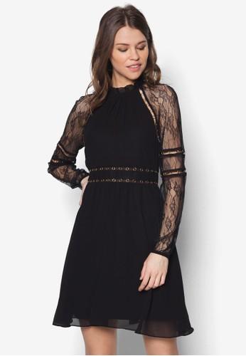 金屬孔蕾絲拼袖洋裝,zalora taiwan 時尚購物網 服飾, 服飾
