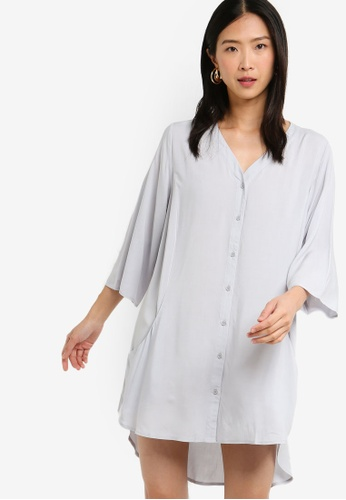 ZALORA BASICS grey Basic Oversized Shirt Dress 4A8EEAA1A05F85GS_1