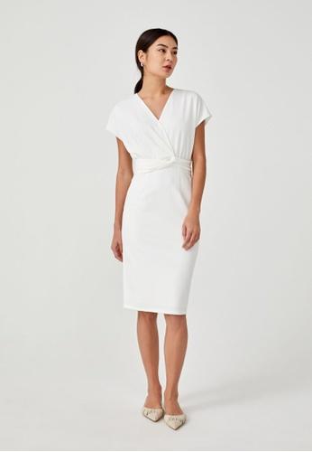 Love, Bonito white Viatrix Knot Front Bodycon Dress 80002AACFFEB0DGS_1