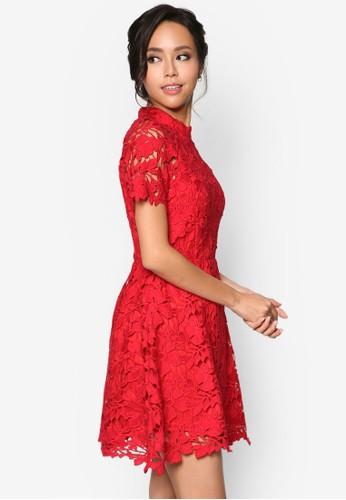 鉤花高領修身洋裝, esprit童裝門市服飾, 洋裝