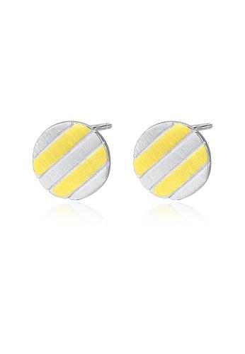 SUNRAIS gold High quality Silver S925 gold round earrings B9DA6AC2A746CDGS_1