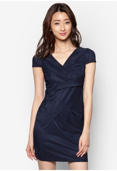 V-Neck Dress With Cap Sleeves