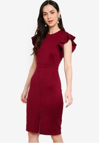 ZALORA WORK purple Frill Sleeves Sheath Dress 5DC2CAA66AECEAGS_1