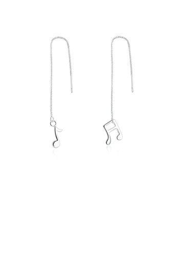 Glamorousky silver Simple and Fashion Music Note Tassel Earrings 49C5CACA1E4CF7GS_1