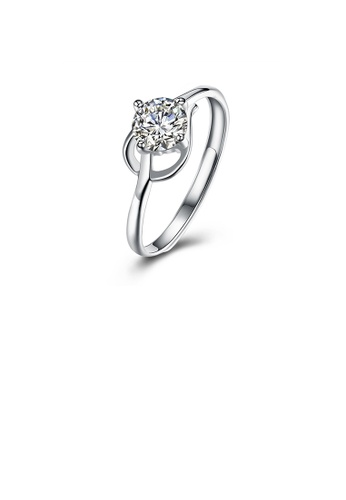 Glamorousky white 925 Sterling Silver Fashion Romantic Geometric Cubic Zircon Adjustable Ring 1824AACF47D6FFGS_1