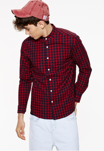 Life8 red Casual Flannel Gingham Check Shirts With Grandad Collar-03886-Red LI283AA0GNPLSG_1
