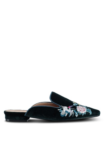 Something Borrowed green Embroidered Slip On Flats E819BSH212FB56GS_1