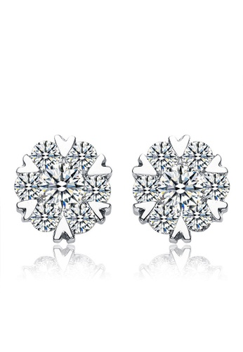 LYCKA silver LFF5202-LYCKA-S925 Siliver White Zircon Snowflake Earrings-Silver 978D3AC1C9A748GS_1