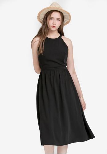 Kodz black Halter Neck Midi Dress 386CFAA8422BC5GS_1