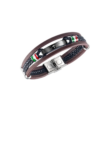 Glamorousky silver Fashion Simple Plated Black 316L Stainless Steel Cross Geometric Multilayer Brown Leather Bracelet D1622AC9992EEEGS_1