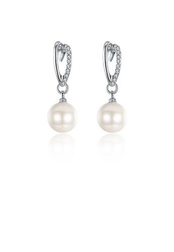 Glamorousky white Elegant Pearl Earrings with Austrian Element Crystal CD8CBACDC0CCE6GS_1