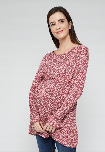 9months Maternity red Brick Drawstring Nursing Blouse 6E7F2AA9D988E8GS_1