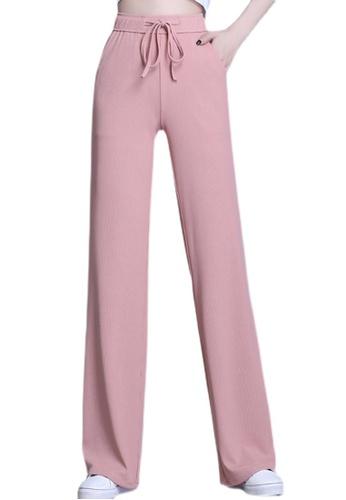 Zafiti pink Women's Drawstring Waist Straight Loose Thin Pant - Pink 53C69AAA1B95A8GS_1