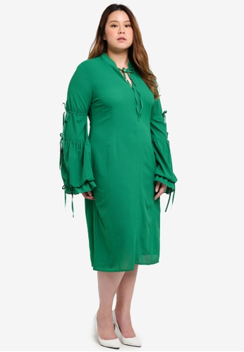 ELVI green Plus Size Leiko Tea Dress With Antoinette Sleeves 882BCAA2181D7FGS_1