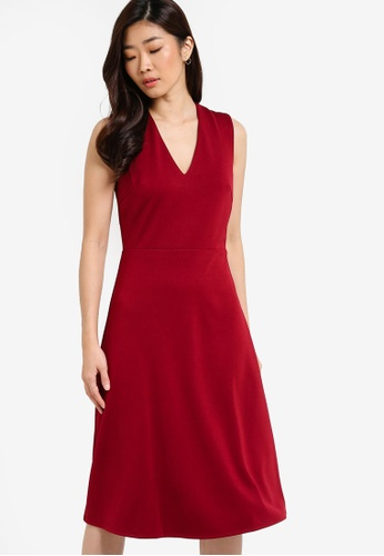 ZALORA red Collection Cross-Back Midi Fit And Flare Dress 1CB0BAACAB98DEGS_1