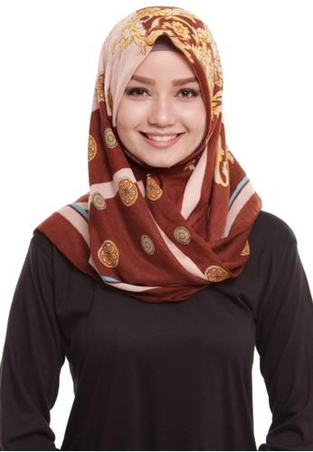 Mybamus Ethnic Square Hijab Viscose Cream - Brown
