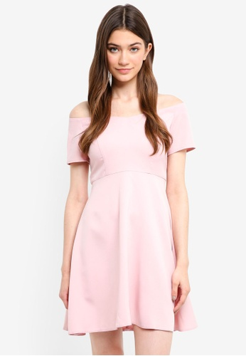 Something Borrowed pink Off Shoulder Fit And Flare Dress 7A534AACD95784GS_1