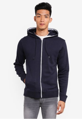 MANGO Man blue Hooded Cotton Pique Sweatshirt E6073AAAD07AD9GS_1