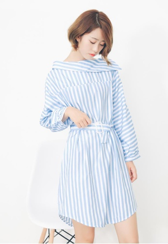 Shopsfashion white and blue Shirt Dress in Blue Strip SH656AA71OVGSG_1