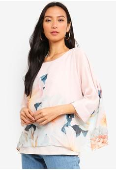 0c4a0b1fafd Wallis pink Blush Floral Print Twinkle Overlay Blouse 861CBAA7EE140BGS 1