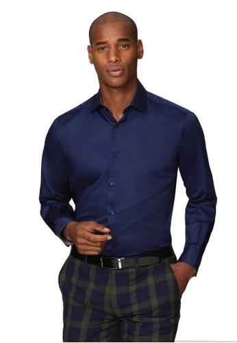 T.M. LEWIN navy T.M.Lewin Premium Satin Slim Fit Navy Single Cuff Shirt With Liberty Fabric Trim 464BAAA8785B7AGS_1