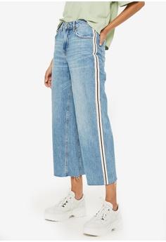 28cc6b25582 TOPSHOP blue Petite Side Stripe Crop Jeans 839F7AA797A842GS 1