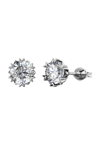 Her Jewellery CELÈSTA Moissanite Diamond  - Le Fond Earrings (925 Silver with 18K White Gold Plating) by Her Jewellery 0F5CBAC17CD220GS_1