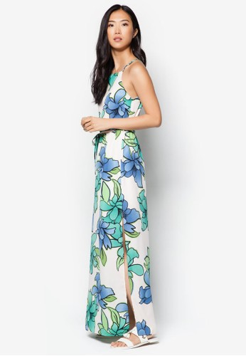 Flzalora 內衣oral Printed Maxi Dress, 服飾, 長洋裝