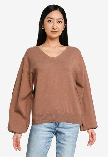 Heather brown Oversized Knit Sweater 7401EAABB969A5GS_1