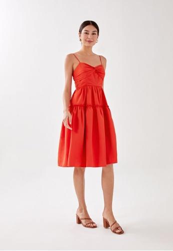 Love, Bonito orange Valkiena Knot Front Dress 0F046AAB330E44GS_1